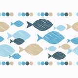 Seamless border with decorative fish. Strokes texture. Textile rapport Stock Photography