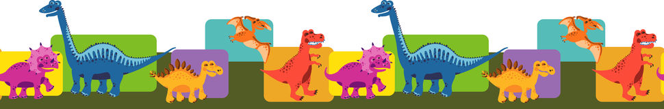 Seamless border with dinosaurs Royalty Free Stock Images