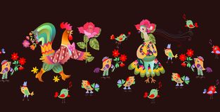 Seamless border with fairy and hen. Year of the rooster. Royalty Free Stock Photos