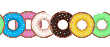 Seamless border with flat donuts in a row. Vector element for your creativity vector illustration