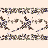 Seamless border floral pattern, edge Stock Photo