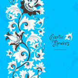 Seamless border with flowers in Chinese style. Stock Photography