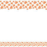 Seamless border frame with repeating japanese autumn leaves. Cute bright seamless pattern border frame with repeating autumn leaves on the white transparent Royalty Free Stock Photography