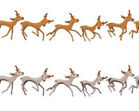 Seamless border with galloping deers. Royalty Free Stock Photos