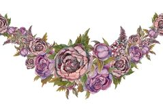 Seamless border is a garland of flowers. Roses peonies lilacs. Watercolor. vector illustration