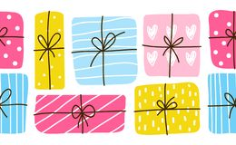 Seamless border with gift boxes. Seamless border with color gift boxes stock illustration