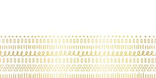 Seamless border Gold foil Ethnic and tribal motifs. Hand drawn golden doodle strokes, lines, triangles repeating ribbon. Seamless border Gold foil Ethnic and vector illustration