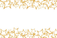 Seamless border with gold glitter star. Sequins. Golden shine. Powder. Glitter. Royalty Free Stock Photography