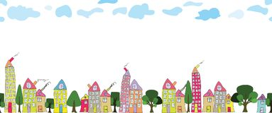 Seamless border of hand drawn city houses on transparent background vector illustration