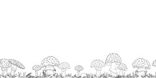 Seamless border with hand drawn mushrooms on the transparent background Royalty Free Stock Photo