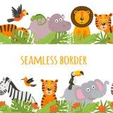Seamless border with jungle animal
