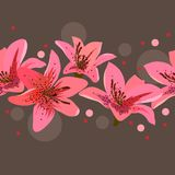 Seamless border with lilies Royalty Free Stock Images