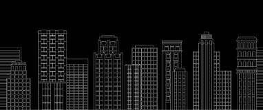 Seamless border of line skyscrapers. Black and white Royalty Free Stock Images