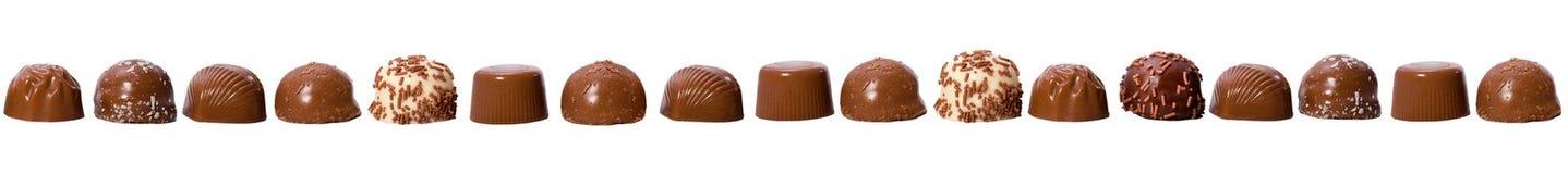 Seamless border made of chocolate pralines Stock Photo