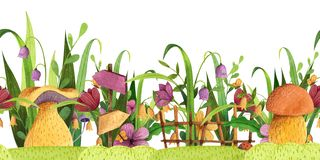 Seamless border. Mushrooms with grass, flowers, butterfly, fence, signpost. royalty free illustration