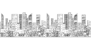 Seamless border with outline of urban skyscrapers Royalty Free Stock Images