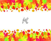 Seamless border pattern of falling autumn leaves. Vector Vector Illustration
