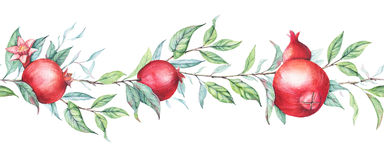 Seamless border pattern with watercolor pomegranates (garnets). Hand drawn seamless border pattern with watercolor pomegranates (garnets). Beautiful and elegant Royalty Free Stock Photos