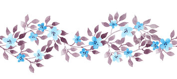 Seamless border ribbon - hand painted aquarelle leaves. Repeated pattern. Stock Photos
