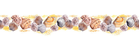 Seamless border ribbon with seashells in sand. Watercolor frame Royalty Free Stock Images