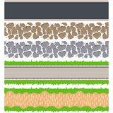 Seamless border roads and track. Vector tileable pathway. Stone pebble, grass, asphalt and ground walkway set Royalty Free Stock Image