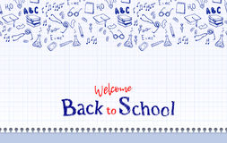 Seamless border with school elements. Back to school. Stock Images