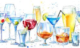 Seamless border of a shampagne,martini,whiskey,vodka, wine,liquor, beer, cognac and cocktail. Picture of a alcoholic drink.Beverage border.Watercolor hand stock illustration