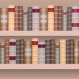 Seamless border of shelf with old books. Royalty Free Stock Photo