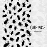 Seamless border with silhouette of bugs. Royalty Free Stock Photo