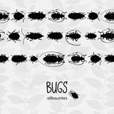 Seamless border with silhouette of bugs. Stock Image