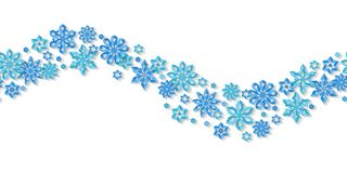 Seamless border snowflakes isolated on white background. Royalty Free Stock Images