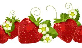 Seamless border with strawberries Royalty Free Stock Photos