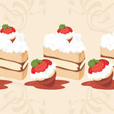 Seamless border with strawberry cake Stock Photography