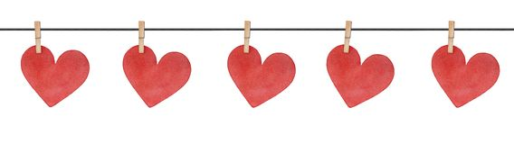 Seamless border string with wooden clothes pins and cute love hearts attachment. stock illustration