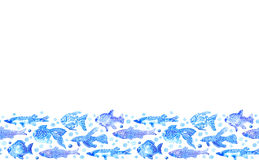 Seamless border with stylized blue fish. watercolor hand drawn illustration. White background.white ornament.wrapping marine image Royalty Free Stock Photo