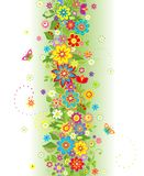 Seamless border with summer flowers Royalty Free Stock Images
