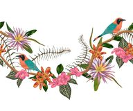 Seamless border with tropical birds, plants and flowers. Exotic flora and fauna. Vector illustration in watercolor style stock illustration