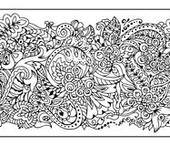 Seamless border in zentangle style. Lace Borders. Horizontal Seamless Pattern in Zentangle style. vector illustration.Coloring page royalty free illustration