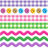 Seamless borders. Seamless (repeatable) borders - gingham ribbons, ric rac tapes, sewing buttons Stock Photos