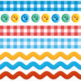 Seamless borders - gingham ribbons, ric racs, sewing buttons Royalty Free Stock Image