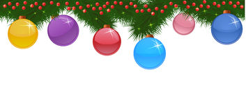 Seamless borders made of spruce branches, balls and sparkles Royalty Free Stock Image