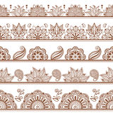 Seamless borders or patterns in indian style with Stock Photography