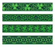 Seamless borders with shamrock. Set of four seamless borders with shamrock Stock Image