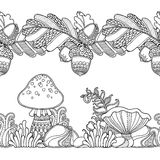 Seamless borders vector set in doodle style. Floral, ornate, decorative, tribal, forest design elements. Black and white background. Grass, mushrooms, oak Royalty Free Stock Image