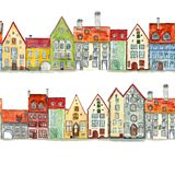 Seamless borders of watercolor hand drawn medieval houses stock illustration