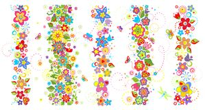 Seamless Borders With Funny Colorful Flowers Royalty Free Stock Images