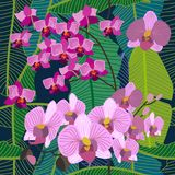 Green tropical background with blooming yellow and purple orchids, ferns and palm leaves. Seamless botanical pattern with aloha motifs. Trendy design for Royalty Free Stock Images