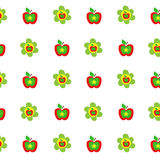 Seamless botanical pattern colorful apples flowers kids style, fabric, scrapbooking, quilting, gift wrap, patchwork. Embroidery Stock Photography