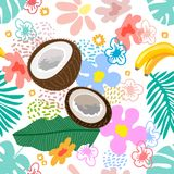 Tropical garden blossom. Seamless botanical pattern with exotic flowers, coconuts and bananas inspired by 1950s-1960s design. Retro textile collection. On white stock illustration