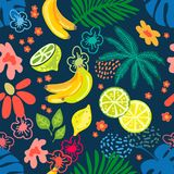 Tropical fruit garden. Seamless botanical pattern with exotic flowers, lemons and tropical leaves inspired by 1950s-1960s design. Retro textile collection. On royalty free illustration
